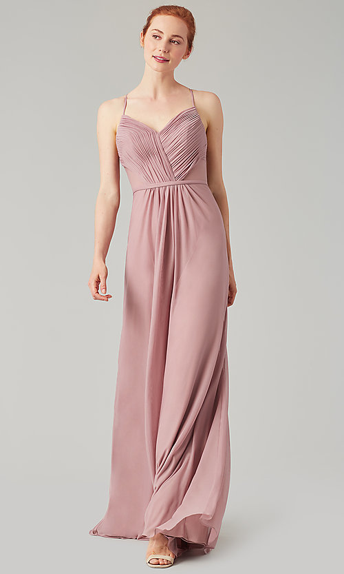 Image of long bridesmaid dress with sheer details. Style: KL-200157 Detail Image 7