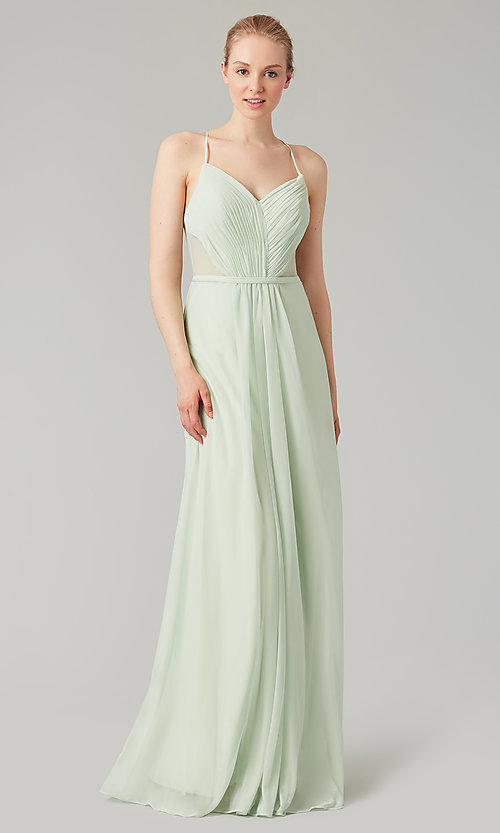 Image of long bridesmaid dress with sheer details. Style: KL-200157 Detail Image 8