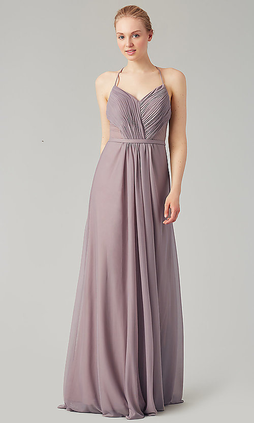 Image of long bridesmaid dress with sheer details. Style: KL-200157 Detail Image 5