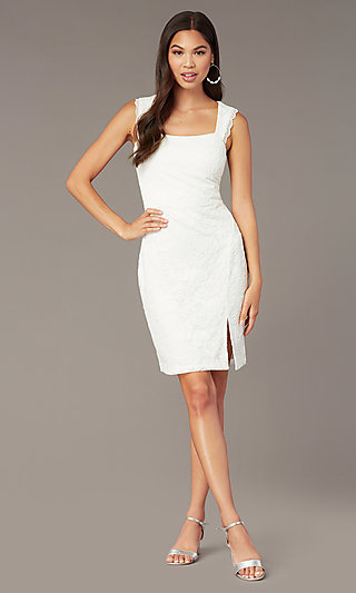 Short Sleeveless White Lace Graduation Dress