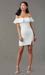 Image of short white party dress with off-shoulder ruffle. Style: MY-5814US1C Front Image