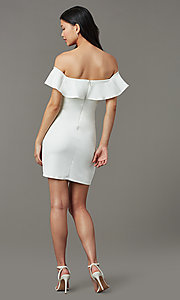 Image of short white party dress with off-shoulder ruffle. Style: MY-5814US1C Back Image