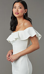 Image of short white party dress with off-shoulder ruffle. Style: MY-5814US1C Detail Image 1