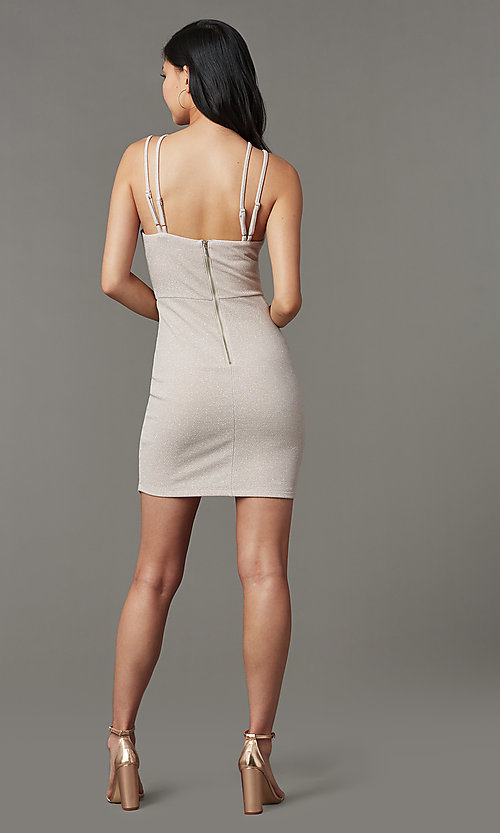 Image of short homecoming party dress in glitter blush pink. Style: MY-5385OX1C Back Image