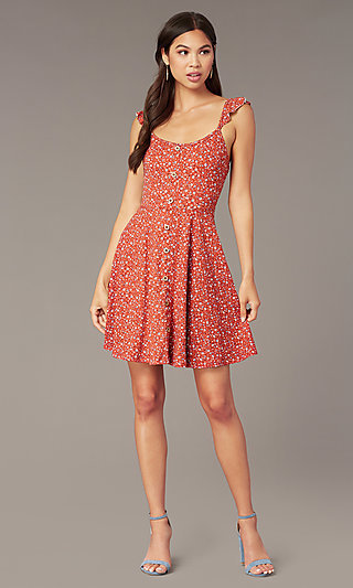 Short Print Casual Party Dress with Faux Buttons