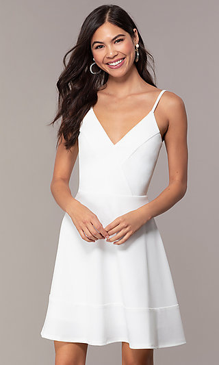 Flared Short V-Neck Graduation Party Dress by Simply