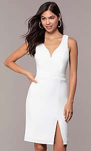 Image of knee-length v-neck graduation dress by Simply. Style: MCR-SD-2835 Front Image