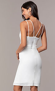 Image of knee-length v-neck graduation dress by Simply. Style: MCR-SD-2835 Back Image