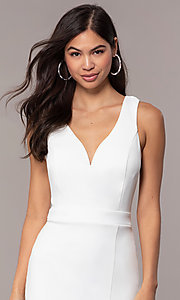 Image of knee-length v-neck graduation dress by Simply. Style: MCR-SD-2835 Detail Image 1