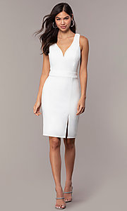 Image of knee-length v-neck graduation dress by Simply. Style: MCR-SD-2835 Detail Image 3