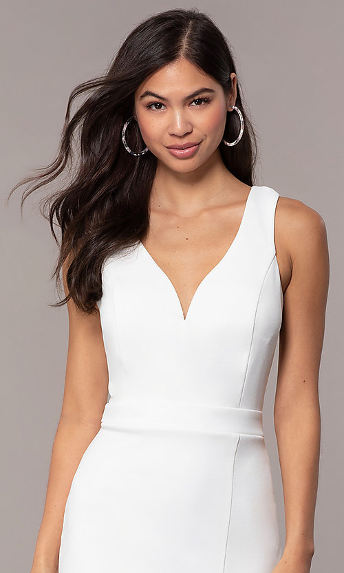 Image of knee-length v-neck graduation dress by Simply. Style: MCR-SD-2835 Detail Image 2