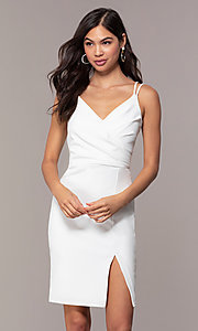 Image of short v-neck ivory graduation party dress by Simply. Style: MCR-SD-1972 Front Image