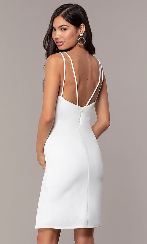 Image of short v-neck ivory graduation party dress by Simply. Style: MCR-SD-1972 Back Image