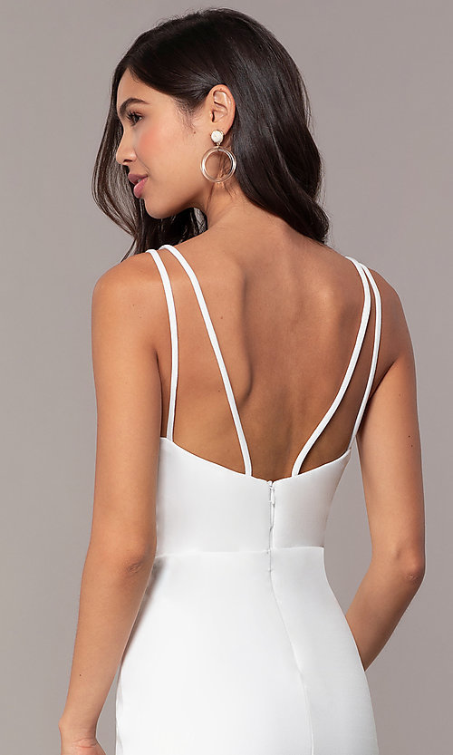 Image of short v-neck ivory graduation party dress by Simply. Style: MCR-SD-1972 Detail Image 2