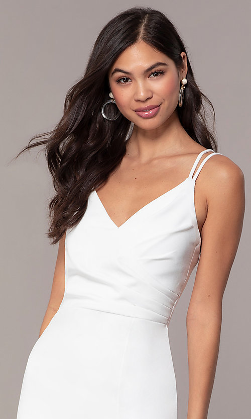 Image of short v-neck ivory graduation party dress by Simply. Style: MCR-SD-1972 Detail Image 1