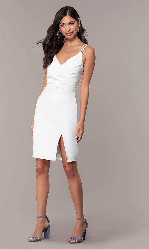 Image of short v-neck ivory graduation party dress by Simply. Style: MCR-SD-1972 Detail Image 3