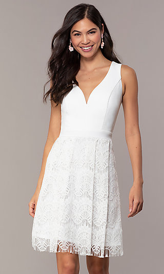Knee-Length Lace Skirt Graduation Dress by Simply