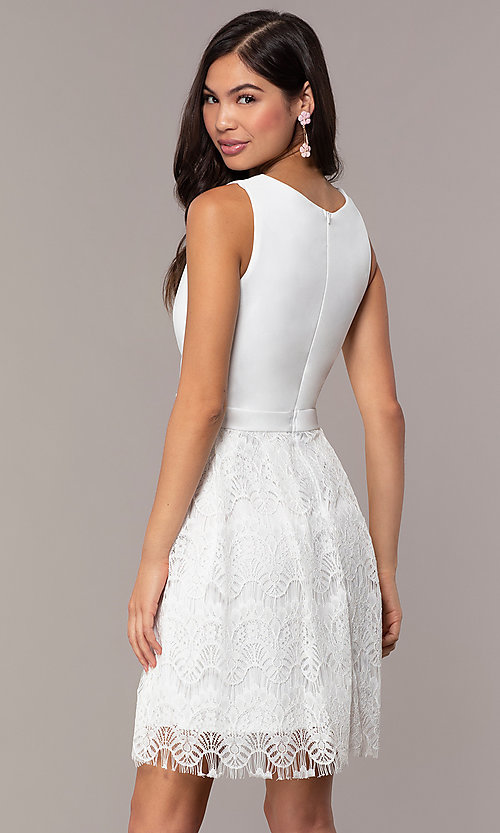 Image of knee-length lace-skirt graduation dress by Simply. Style: MCR-SD-2831 Back Image