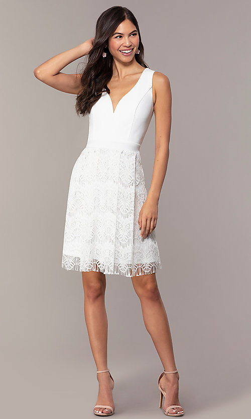 Image of knee-length lace-skirt graduation dress by Simply. Style: MCR-SD-2831 Detail Image 3
