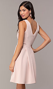 Image of Simply short v-neck graduation party dress. Style: MCR-SD-2838 Back Image