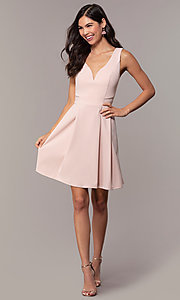 Image of Simply short v-neck graduation party dress. Style: MCR-SD-2838 Detail Image 3