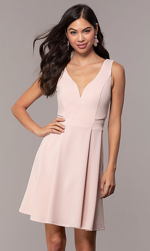 Image of Simply short v-neck graduation party dress. Style: MCR-SD-2838 Front Image