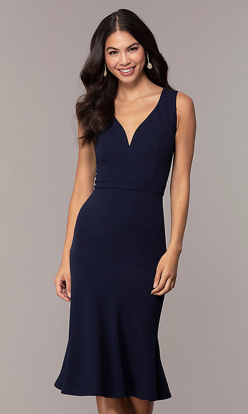 Image of knee-length navy blue Simply wedding-guest dress. Style: MCR-SD-2839 Front Image