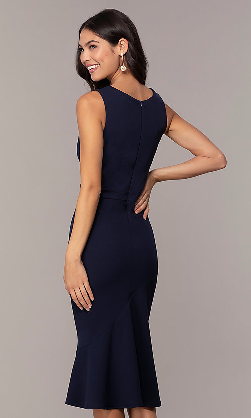 Image of knee-length navy blue Simply wedding-guest dress. Style: MCR-SD-2839 Back Image