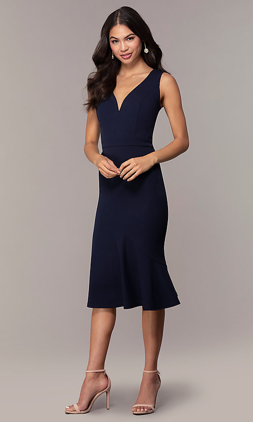 Image of knee-length navy blue Simply wedding-guest dress. Style: MCR-SD-2839 Detail Image 3