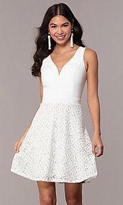 Image of short ivory glitter graduation dress by Simply. Style: MCR-SD-2833 Front Image