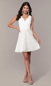 Image of short ivory glitter graduation dress by Simply. Style: MCR-SD-2833 Detail Image 3