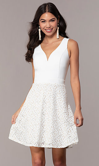 Short Ivory Glitter Graduation Dress by Simply