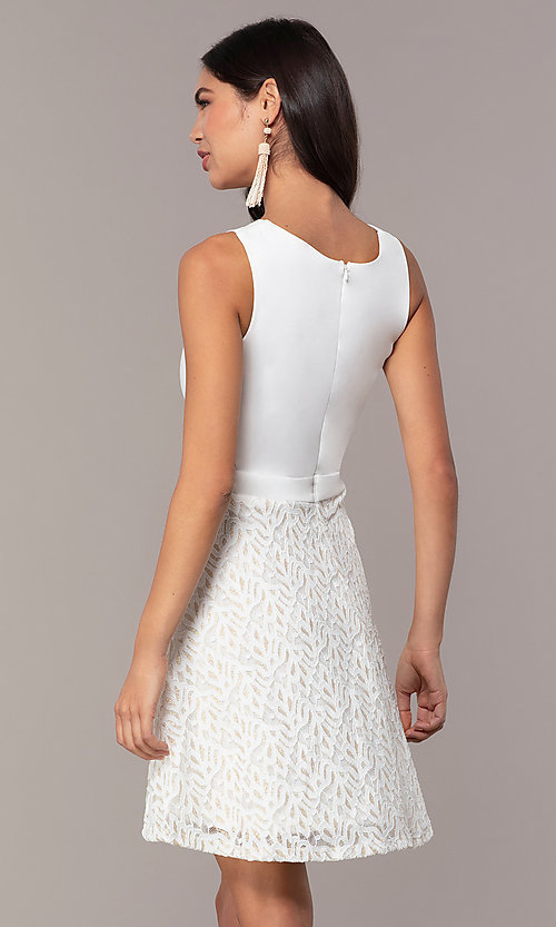 Image of short ivory glitter graduation dress by Simply. Style: MCR-SD-2833 Back Image