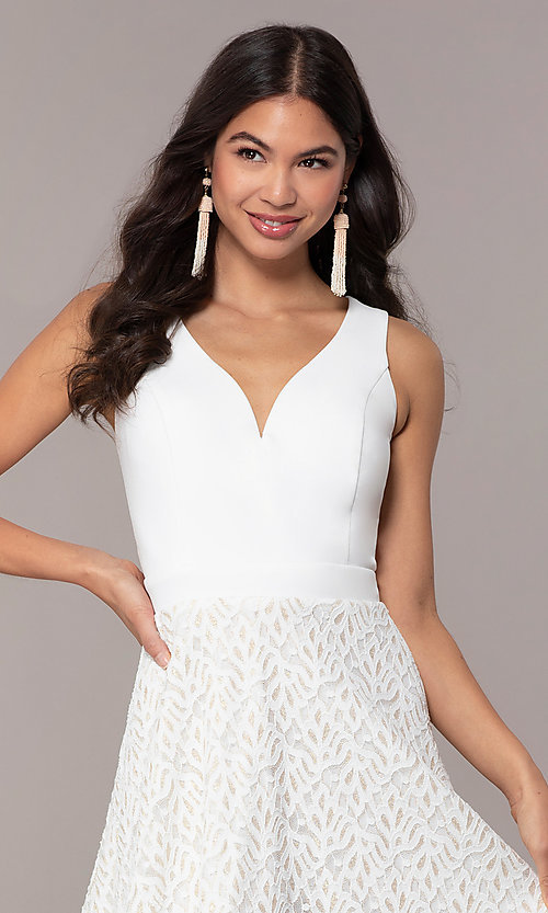Image of short ivory glitter graduation dress by Simply. Style: MCR-SD-2833 Detail Image 1