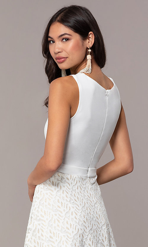 Image of short ivory glitter graduation dress by Simply. Style: MCR-SD-2833 Detail Image 2