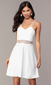 Image of short a-line v-neck graduation dress by Simply. Style: MCR-SD-2814 Front Image