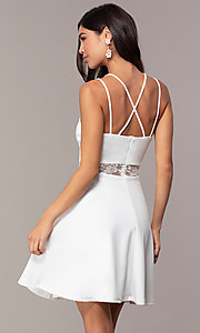 Image of short a-line v-neck graduation dress by Simply. Style: MCR-SD-2814 Back Image