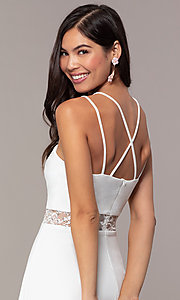 Image of short a-line v-neck graduation dress by Simply. Style: MCR-SD-2814 Detail Image 2