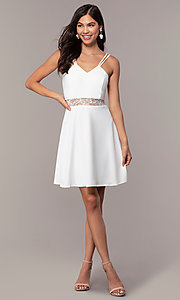 Image of short a-line v-neck graduation dress by Simply. Style: MCR-SD-2814 Detail Image 3