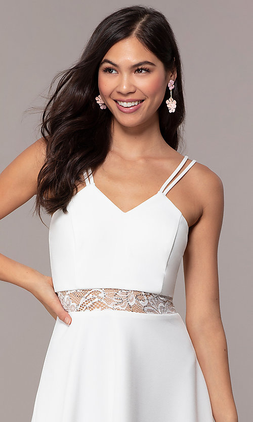 Image of short a-line v-neck graduation dress by Simply. Style: MCR-SD-2814 Detail Image 1