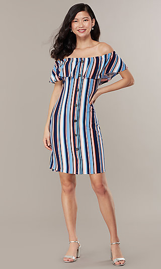 Short Striped Off-the-Shoulder Party Dress
