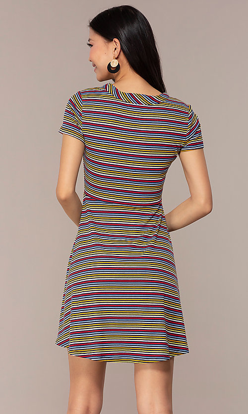 Image of short casual striped party dress with sleeves. Style: IK-RK59720 Back Image