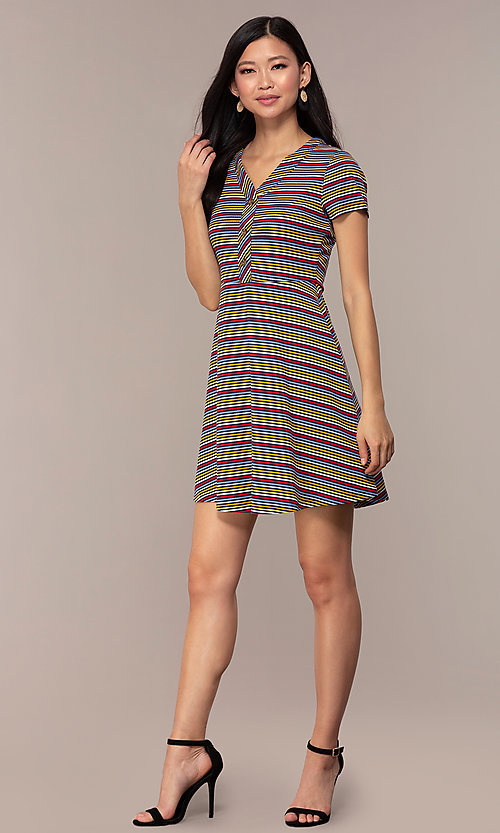 Image of short casual striped party dress with sleeves. Style: IK-RK59720 Detail Image 3