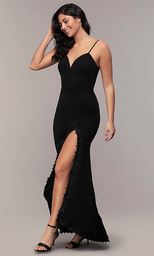 Image of sweetheart long black designer prom dress by Simply. Style: MCR-SD-2709 Front Image