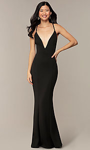 Image of caged-open-back long black prom dress with v-neck. Style: MT-9778-1 Front Image
