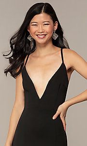 Image of caged-open-back long black prom dress with v-neck. Style: MT-9778-1 Detail Image 1