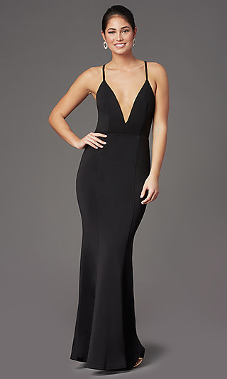 Caged-Open-Back Long Black Prom Dress with V-Neck