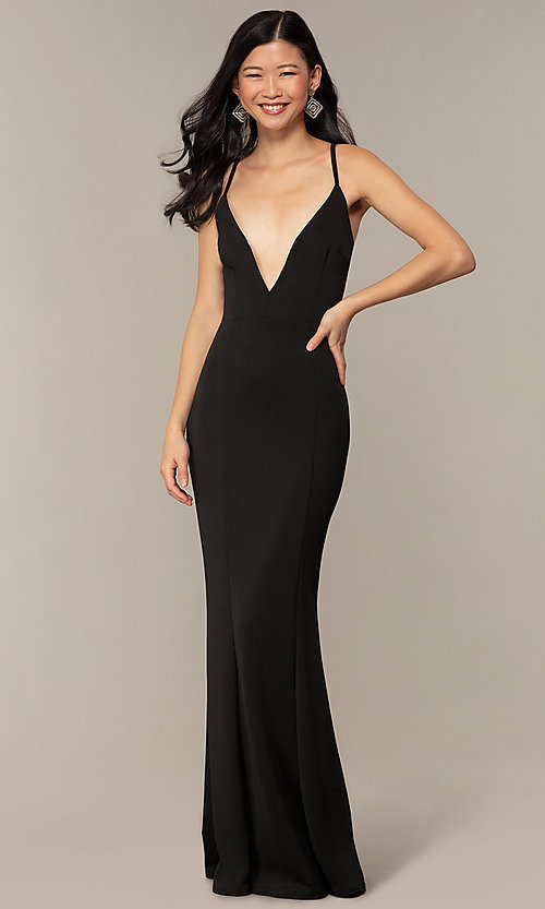 Image of caged-open-back long black prom dress with v-neck. Style: MT-9778-1 Detail Image 3