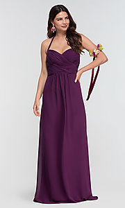 Image of halter long Kleinfeld bridesmaid dress. Style: KL-200004-v Detail Image 1