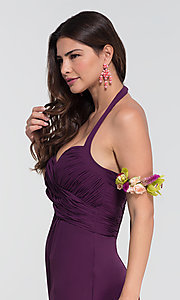 Image of halter long Kleinfeld bridesmaid dress. Style: KL-200004-v Detail Image 5